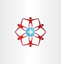 people around golbe network icon vector image