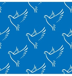 Seamless pattern of flying doves of peace vector image vector image