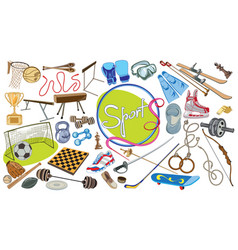 drawing sports elements set vector image vector image