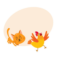 Funny red cat kitten character chasing playing vector