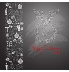 Hand drawn deer and handwritten words Merry vector image vector image