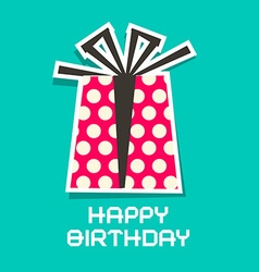 Happy Birthday Card Paper Gift Box and Paper Cut vector image