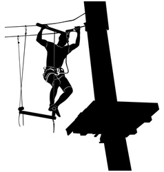 man on cables in an adventure park vector image vector image