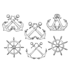 Sailing ships helms and crossed anchors sketches vector image