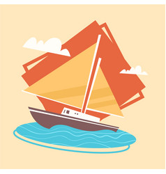 yacht icon summer sea vacation concept summertime vector image
