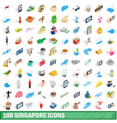 100 singapore icons set isometric 3d style vector image