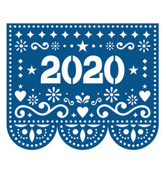 2020 papel picado design - mexican style vector