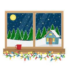 a window with a view of the decorated house vector image