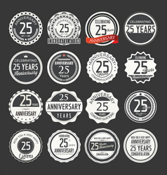 Anniversary retro labels 25 years vector