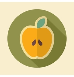 Apple retro flat icon with long shadow vector image