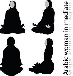 Arabic woman silhouette in meditating pose vector