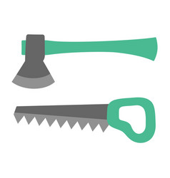 ax and saw gardening tools set isolated on white vector image
