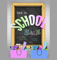 back to school sale concept with colorful vector image