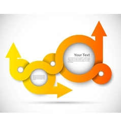Background with orange circles and arrows vector image vector image