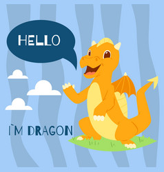 badragon with text hello banner vector image