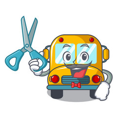 barber school bus character cartoon vector image