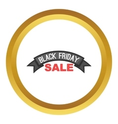 Black friday ribbon icon vector