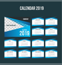Blue corporate desk calendar 2019 background vector
