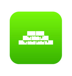 Brickwork icon digital green vector