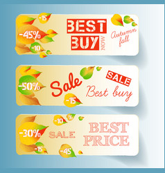 business autumn floral horizontal banners vector image