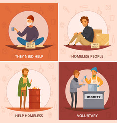 Cartoon homeless people icon set vector