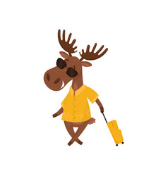 Cheerful elk with suitcase going on vacation vector