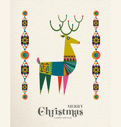Christmas and new year scandinavian deer card vector