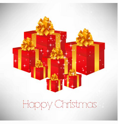 christmas card wityh gift boxes vector image