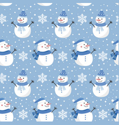 christmas seamless pattern with snowman on cool vector image