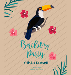 Cocktail birthday invitation on wooden background vector