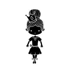 contour girl dancing ballet with crown decoration vector image