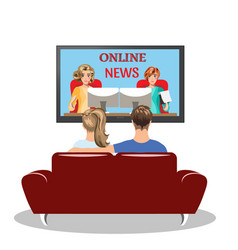 couple sitting on the couch and watching tv vector image