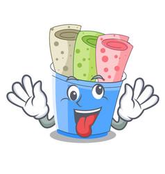 Crazy ice cream roll small depth mascot vector