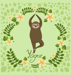 Cute cartoon sloth standing in yoga pose cartoon vector