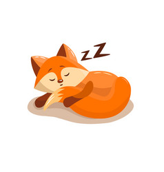 Cute fox sleeping vector