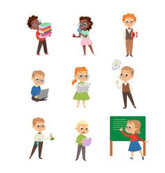 cute intelligent kids reading books and studying vector image