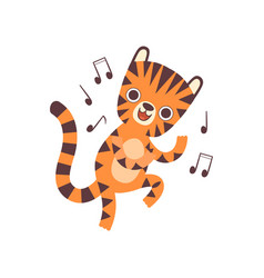 Cute little tiger listen to music and dancing vector