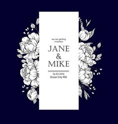 Dark blue wedding invitation card template vector