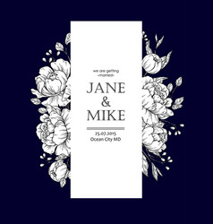 Dark blue wedding invitation card template with vector