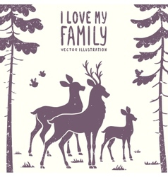 deer family vector image