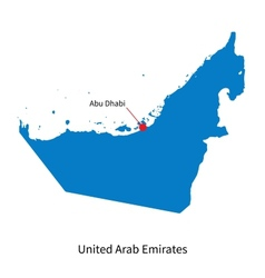 Detailed map of United Arab Emirates and capital vector
