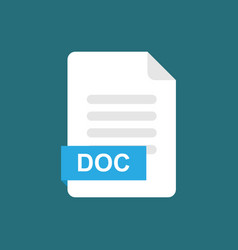 doc format file icon symbol vector image