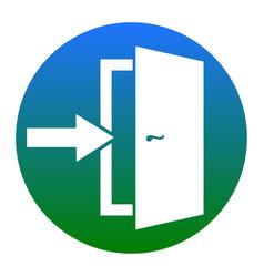 door exit sign white icon in bluish vector image