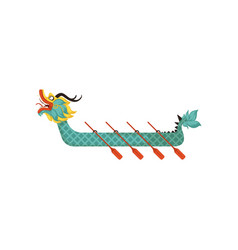 Dragon boat with paddles symbol of chinese vector
