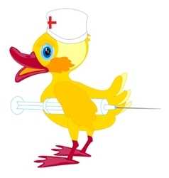 Duckling doctor with syringe vector