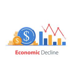 Economy negative prognosis financial loss low vector