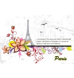 eiffel tower with floral and grunge vector image