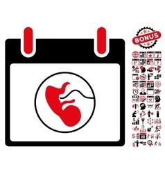 Embryo Calendar Day Flat Icon With Bonus vector image