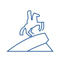 Equestrian horse statue line icon concept vector