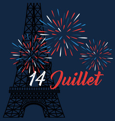 Fireworks with eiffel tower to bastille vector